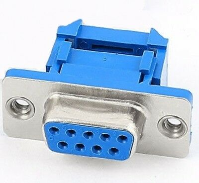 D-SUB DB9 9 Pin Female IDC Crimp Connector for ribbon cable - UK Seller