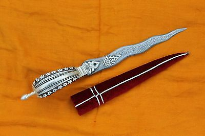 indo-Persian south Indian silver damascened bichwa dagger khanjar safety knife