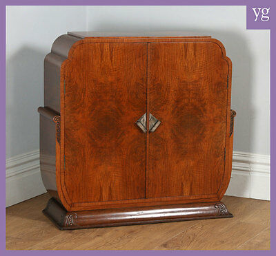 Antique English Art Deco Figured Walnut Cocktail Drinks Sideboard Cabinet c1930
