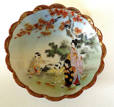 Beautifully Hand Painted Rice Bowl - Children Playing In Red Maple Leaves