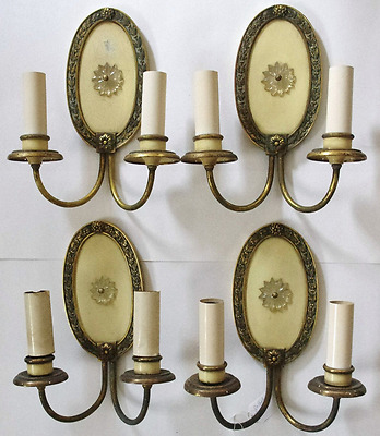 Set of Four (4) Antique Ivory & Brass Double Armed Candelabra Sconces