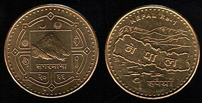 1 Rupee Coin current NEPAL Mt Everest  UNCIRCULATED  REVERSE: MAP of NEPAL