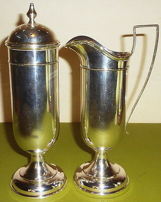 """c1920 Matched Pr. A.M.SOFFEL tall STERLING silver 7.5"""" MUFFINEER & CREAMER-NMONO"""