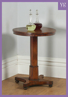 Antique English William IV Flame Mahogany Occasional Wine Lamp Side Tripod Table