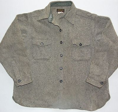 VINTAGE EDDIE BAUER Wool Outdoor Shirt Gray Size Men's XL Made in USA Good Cond