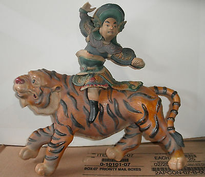 Antique Chinese  Roof Tile of a Warrior on a Tiger, AWESOME
