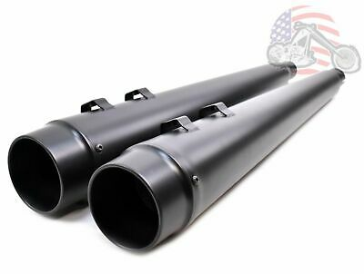 "4"" Black Megaphone Slip-On Mufflers Exhaust Pipes 95-16 Harley Touring Dresser"