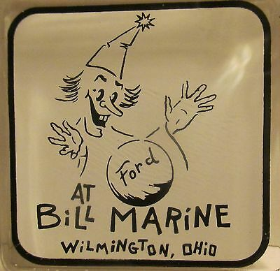 Bill Marine Ford Wilmington Ohio Glass Ashtray Witches Ball