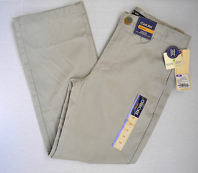 New Cherokee Boys Ultimate Khaki Tan School Uniform Nanotex Pants Size 8H