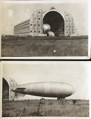 Two RPPC of U.S. Army dirigible in hangar and in profile 1920s