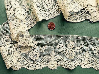 19th C. handmade Valenciennes bobbin lace wide border yardage BRIDE COLLECT