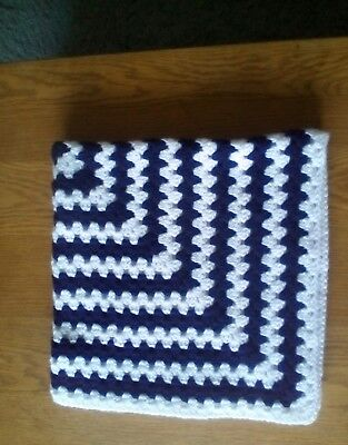 Handmade crochet baby blanket warm and cosy navy/ white