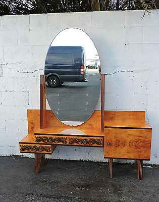 Vintage Retro Lacquer Inlay Vanity Desk Dressing Table with Mirror 8153A