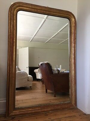 Large Antique French Gilt Louis Philippe  Mirror - Original Glass And Back c1860