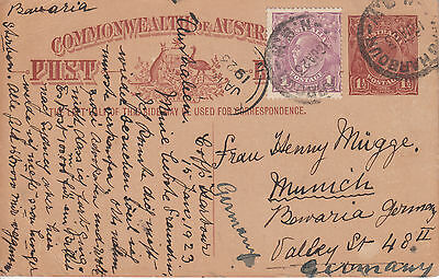 AUS - stat. Postcard - from Coffs Harbour NSW 1923 - 1 1/2 d to Bavaria (WB 801)