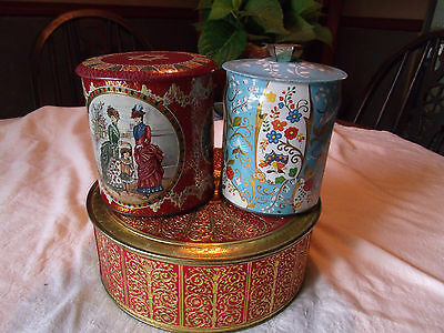 Vintage Tins- Tea, Biscuit, Cookie-Made in England and New York- lot of 3