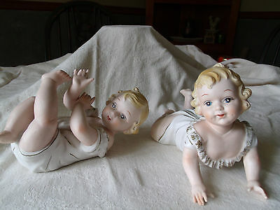 Vintage Piano Babies-Bisque-Set of 2 -Marked KPM