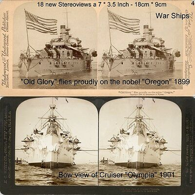 U.S.-Warships Kriegsschiffe, Brooklyn, Maine, Olympia, more,18 Stereofotos Lot 4