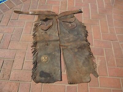 Rare Vintage-Antique- Western- Marked Fred Mantey Leather Batwing Chaps - 1910?