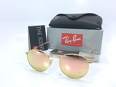 Ray Ban Round Metal RB3447 112/Z2 Gold Flash Brown Pink Mirror 50mm