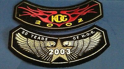LOT OF 2 HARLEY DAVIDSON HOG PATCHES 2002, 2003 Anniversary