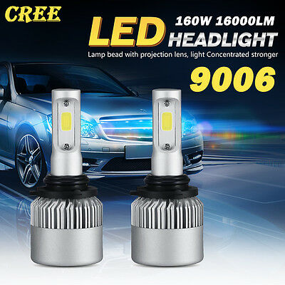 2X 9006 HB4 160W CREE LED Headlight Fog light Bulb 16000LM Pure white 6000K NEW