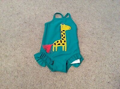 Girls M&S UPF 40+ Giraffe Swimming Costume 6-9 Mths BNWT