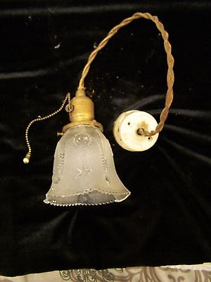 Vintage Ceiling Light Fixture, Glass Shade w/Cut Stars & Designs & Pull Chain