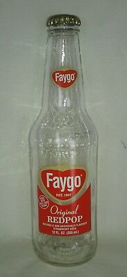 FAYGO Redpop 12 oz Empty Glass Bottle with Cap Vintage Look