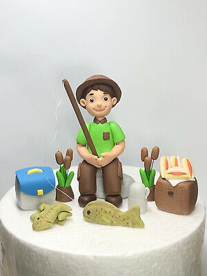 Edible cake toppers Man Dad Fishing Hobby Sports Holiday Birthday decorating set