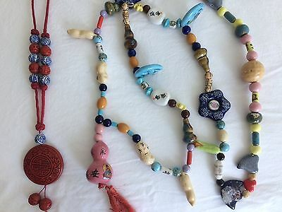 Vintage Chinese Porcelain Ceramic Beads Necklaces - Lot of 2