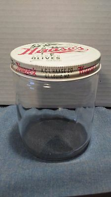 Vintage 1950s *HAASE'S* Spanish Olives from Seville-Jar/Lid. St. Louis Missouri
