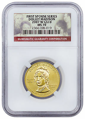 2007-W 1/2 Oz Gold Dolley Madison First Spouse $10 NGC MS70 SKU17482