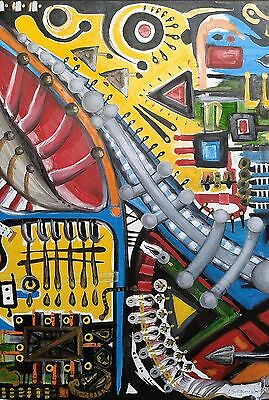 "NEW ANTONIO ALBA DIAS ""The Future is Dead"" Abstract Oil STUNNING PAINTING"