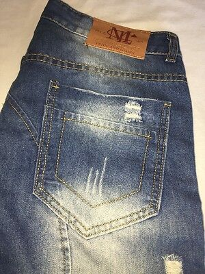 Men's Size 32/29 J.A.S Marvelacost Pride And Glory Distressed Denim Jeans Skinny