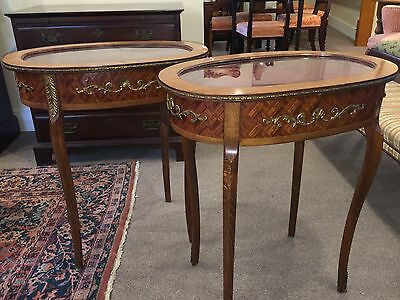 Antique Pair French Satinwood Inlaid Display Cabinet End Tables