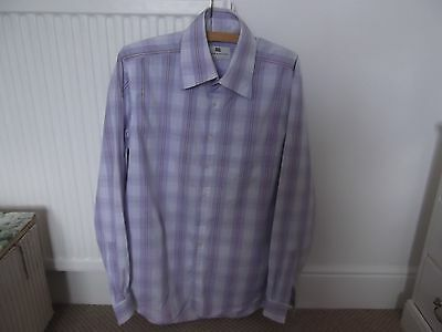 True Vintage Mens Shirt Made In Great Britain Crow & Jester Mauve Stripes Large