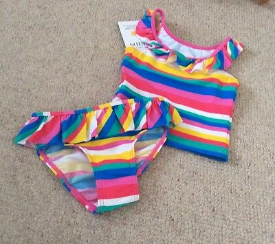 Baby Girls M&S UPF 40+ Striped Frill 2 Piece Tankini Swimsuit 6-9 Mths BNWT