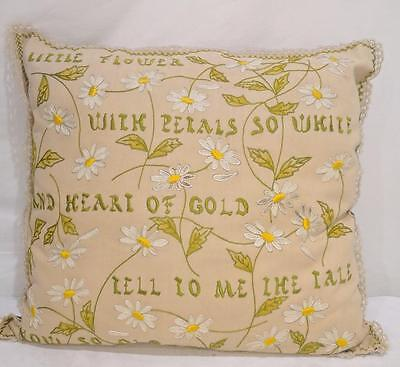 ML ANTIQUE Motto Fringe Pillow c 1900's Embroidered Silk Little Flowers Hearts