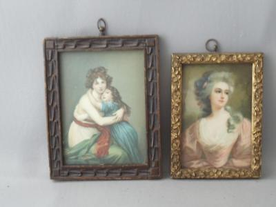 ANTIQUE SHABBY VTG CHIC CARVED GOLD WOOD WALL PICTURE FRAMES w MEZZOTINT PRINTS