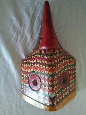 Vintage hand carved Wood FESTIVAL central American.TRIBAL Mask hand painted