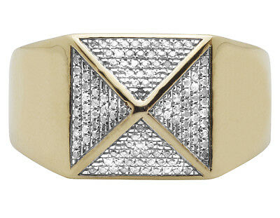 Men's 10K Yellow Gold Genuine Diamond 4-Sided Egyptian Pyramid Ring 0.50 Ct