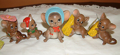 """Lot Of 5 Vintage Original Mice From The """"mouse Village"""" Collection"""