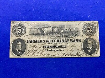 $5 1856 Farmers & Exchange Bank (Charleston,South Carolina) Obsolete Currency
