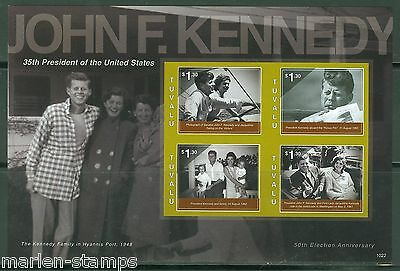 TUVALU JOHN F. KENNEDY 50th ELECTION ANN  IMPERFORATE SHEET III OF FOUR  MINT NH