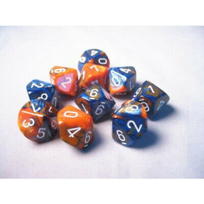 Chessex Dice d10 Sets Gemini Astral Blue White Red Ten Sided Die 10 CHX 26257