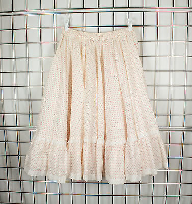 """Vintage Full Circle Skirt Pink Red - Lace - Elastic  28"""" to 40"""" Waist - Pockets"""