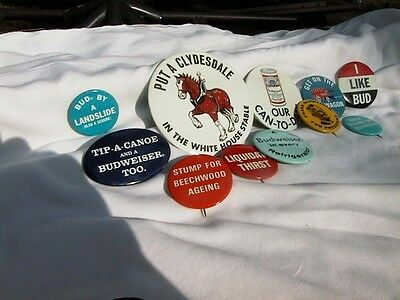 Vintage 1968 Budweiser Beer Campaign Style Pinback Buttons