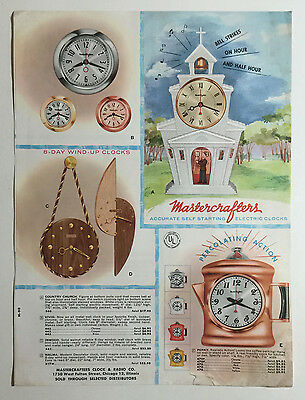 Mastercrafters Clock and Radio Co Self Starting Electric Clocks Brochure 1950s