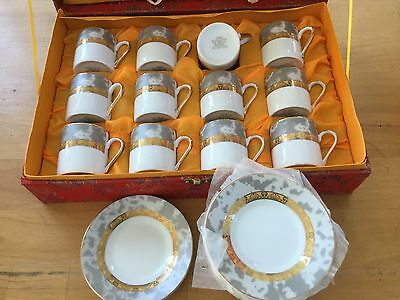 Yamasen 24 ct Gold Plated Porcelain Coffee Set Gold Cups and Saucers 24 pieces